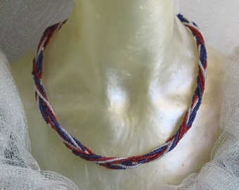 Handmade twisted glass bead necklace in traditional USA patriotic colors, twist, flag, 4th of July, Veteran's Day, military