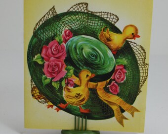 Vintage Easter Day Greeting Card Easter Bonnet & Ducklings Sparkle Glitter Ephemera Scrap Booking