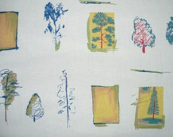 "Decorator fabric, Trees, Indigo Blue, Off white, 1 YARD, 56"" wide, Upholstery, Home Dec, cotton"