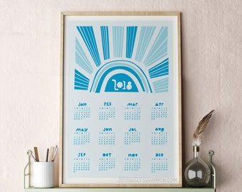 2018 Wall Calendar, Modern Calendar, Poster Calendar 2018, Large Wall Calendar, Abstract Calendar Blue 13x19