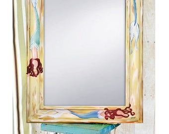 """Hand Painted Mermaid mirror, 22x27"""" by Sheila A. Smith"""