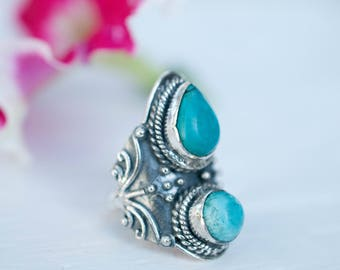 Turquoise Ring ~ Sterling Silver 925 ~ Handmade ~ Statement ~ Jewelry Gift for her~ Boho ~ Hippie ~ Bohemian ~ One of a Kind ~ Maresia MR082