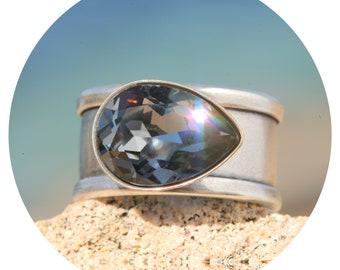 Artjany ring silver night Swarovski crystal drops silver