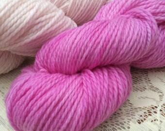 Superwash Merino Aran / Heavy Worsted Knitting Yarn / Knitting Wool Indie Dyed Pinks