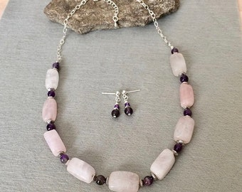 Rose Quartz Bead Necklace Set Pink Quartz Necklace Pale Pink Beaded Necklace Set Pink Purple Amethyst Gemstone Necklace Rose Quartz Jewelry