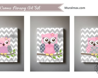 Art For Children Owl Nursery Art Set Of 3 Canvas Art , Baby Girls Room Art