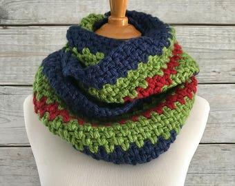 Oversized Infinity Bold Stripe Crochet Scarf