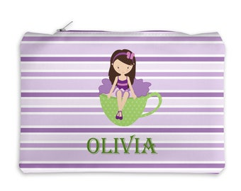 Personalized Pencil Case - Tea Party Girl Green Cup Purple Stripes with Name, Customized Pencil Case, Pencil Holder, Pouch