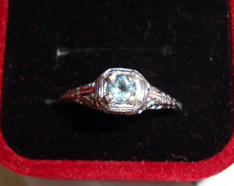Aquamarine Ring in solid 14k rose gold/sterling silver filigree Edwardian Antique style eco-friendly Natural Blue engagement