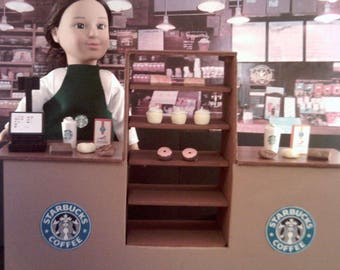 """American Girl, Our Generation, My Life, 18"""" Doll Sized Starbucks Restaurant Playset"""