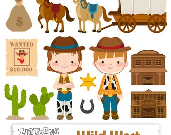 Wild West Digital Clipart Cowboy clip art Cowgirl graphics Sheriff Horse Saloon Western clipart Digital scrapbooking Digital clipart
