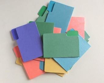 Mini File Folders, Scrapbook Embellishments, Miniature Office File Folders, Shimmer Colors, Journal Supplies,  pack of 10