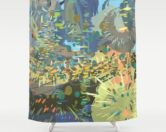 Artistic Shower Curtain, green, blue, yellow, Abstract colorful modern art bathroom decor, Bath curtains, moddesign4u (9a