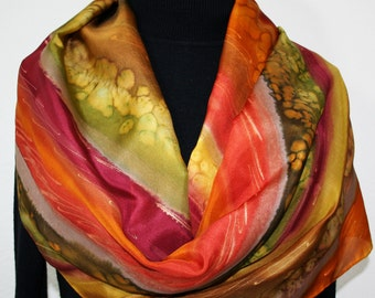 Silk Scarf Brown Red Olive Hand Painted Shawl INDIAN PRAIRIE, in Several SIZES. Silk Scarves Colorado. Bridesmaid, Birthday, Christmas Gift.