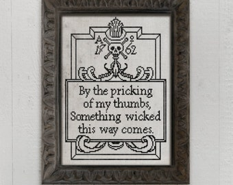 INSTANT DOWNLOAD Something Wicked This Way Comes PDF counted cross stitch patterns by Dark Crosses at thecottageneedle.com Halloween