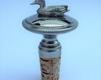 Silverplated bottle stopper with duck