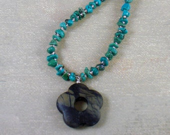 Necklace - Turquoise nuggets with charcoal jasper flower pendant