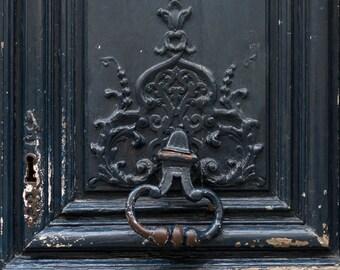 Paris Photo - Shabby Black Door, Parisian Architecture Fine Art Photograph, Home Decor, Large Wall Art