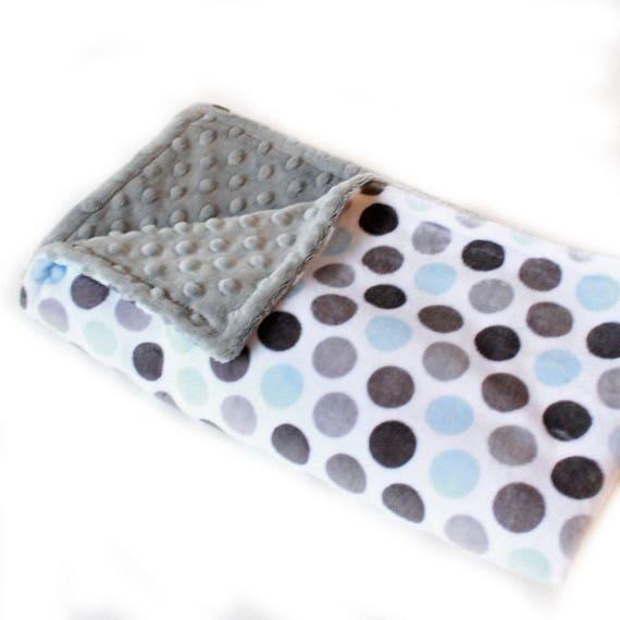 Dots Baby Boy Minky Baby Blanket, Blue Gray Blanket, Personalized Baby Blanket, Name Baby Blanket, Baby Shower Gift, Kids Minky Blanket