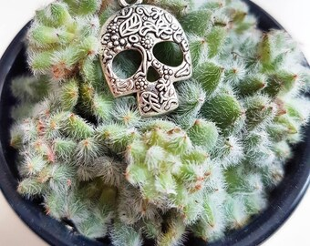 Skull Necklace // Skull Jewelry // Silver Skull Charm Necklace // Gothic Jewelry // Alternative Jewelry // Halloween Necklace