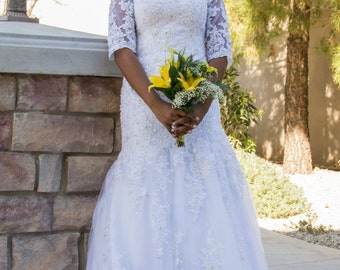 Saria Modest Wedding Dress with Sleeves - Modest Wedding Dress with Sleeves - LDS Lace Wedding Dress with Sleeves
