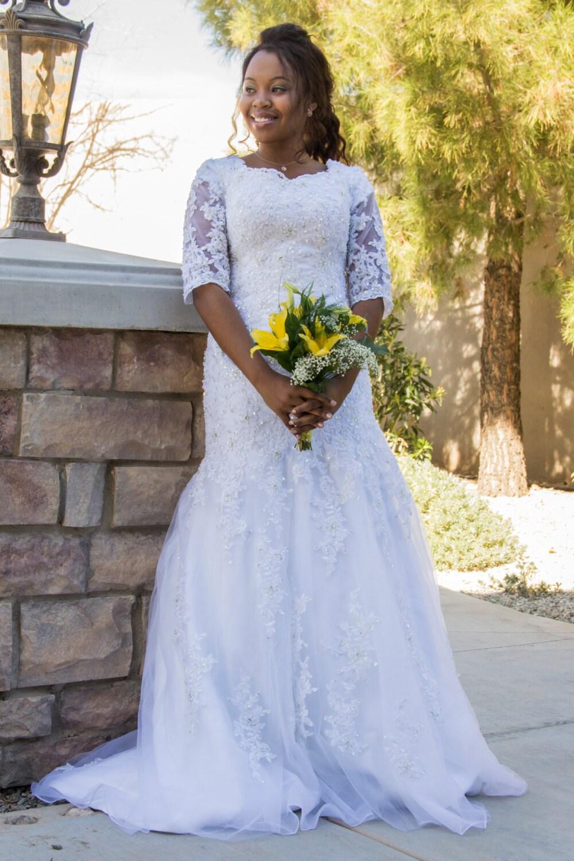SARIA bescheidenen Brautkleid mit Ärmeln Brautkleid mit