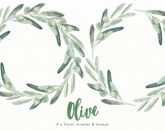 Watercolor floral wreaths (2) & branch Olive. Hand-painted, wedding design, invitations, arrangement, rustic, valentines day, card, clipart