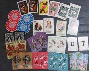 Vintage Playing Cards 32 Unusual Assorted Junk Journal Round Hearts Authors Pit Swap Cards Smash Book Glue Book Mixed Media Collage Art