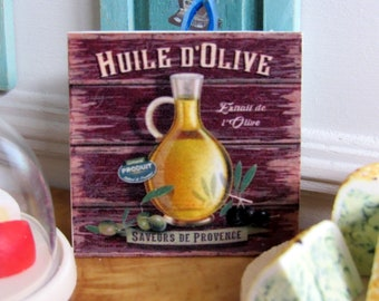 """1:12th Scale ~ Dolls House ~ """"Huile D'Olive"""" ~ Saveurs de Provence ~ French Cuisine Wall Panel"""