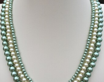 Sage Green and Cream Glass Pearl Multistrand Necklace