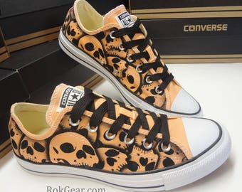 Coral Skull Converse Oxfords  US Mens Size 7 - US Womens Size 9 - Unique hand painted Skull shoes by RokGear - Ready to Ship