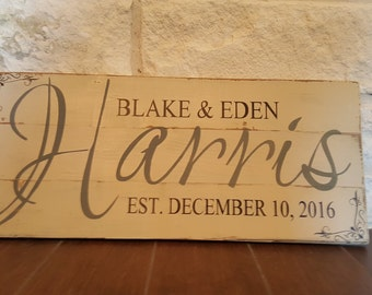 Wedding/Anniversary Last Name Wood Sign