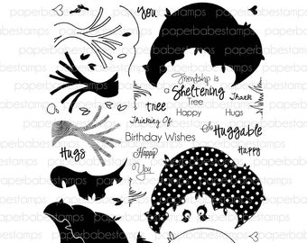 Tree Hugs Stamp Set - Paperbabe Stamps - Clear Photopolymer Stamps - For paper crafting and scrapbooking.