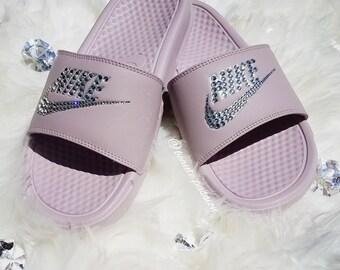 Rose/Metallic Silver Nike Slides