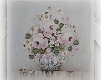 Larger sized Vintage style Shabby Chic Original Shabby Style Pink Rose and Daisy Painting on Board