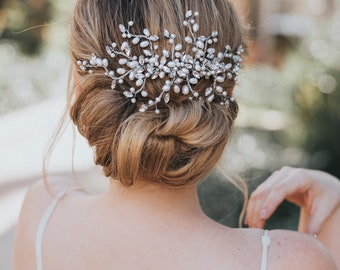 """Beaded Hair Comb, Boho Hair Comb - """"Gwen"""" Rhinestone and Pearl Large Bridal Hair Comb (Silver, Silver with Opal, Gold or Rose Gold)"""