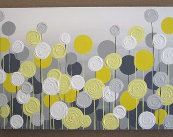 Mustard yellow and gray abstract flower art textured acrylic yellow and grey flower art textured acrylic painting on canvas select your size mightylinksfo