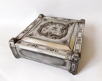 Antique 1880 Historicism Silver Jewelry Trinket Box Hallmark Austro Hungary