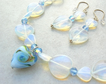My Heart is Blue, Lampwork Glass Heart, Opaline Glass Hearts & Crystal Beads, Valentine Gift, Necklace Set by SandraDesigns