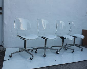 Vintage  Lucite  Dining Chairs  Set Of 4.