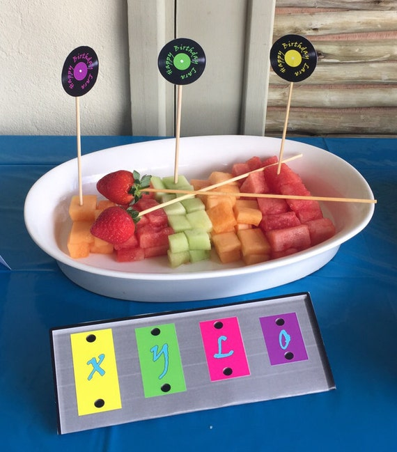 Music themed birthday party table decorations food labels