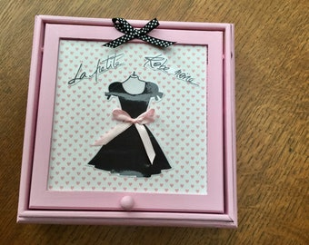 Little black dress rose jewelry box with mirror
