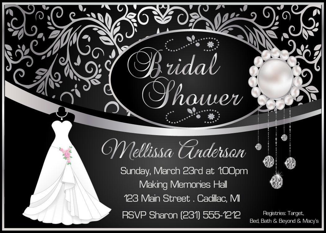 Elegant bridal shower invitation black damask silver zoom filmwisefo