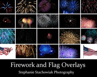 Firework Overlays, July 4th Overlays, Fireworks Overlay, Flag Overlay, Independence Day, america
