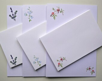 Writing Paper and Co-ordinating Envelope Packs - Rose Hips, Harebells and Lavender Designs