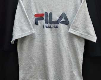 Vintage FILA T-shirt Big Logo Spellout Embroidered//Size L""