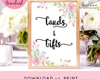 Cards And Gifts, Wedding Sign, Gifts And Cards, Wedding Cards Sign, Wedding Decor, Table Sign For Cards, Reception Sign, Floral Wedding