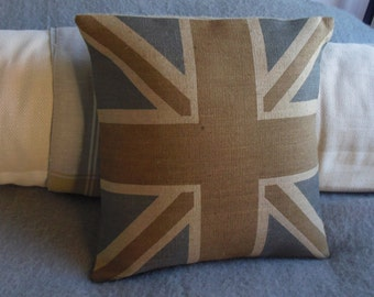 handprinted rustic browns hessian union jack flag cushion cover