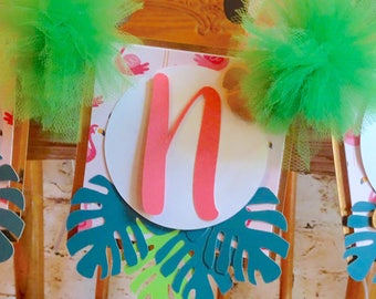 Summer Party Banner |  Flamingo High Chair Banner | Smash Cake Banner Prop | Tropical Birthday | Flamingo 1st Birthday Banner | One Banner