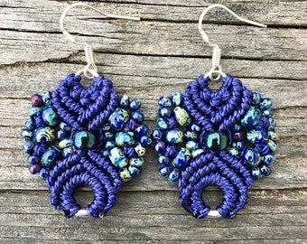 SALE Micro-Macrame Earrings - Cobalt Blue Picasso